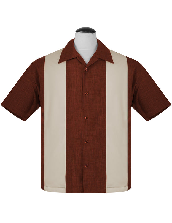 PopCheck Double Panel Bowling Shirt in Rust/Stone