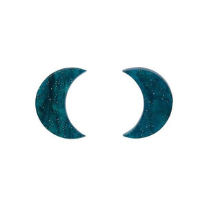 Crescent Moon Ripple Glitter Resin Stud Earrings in Emerald