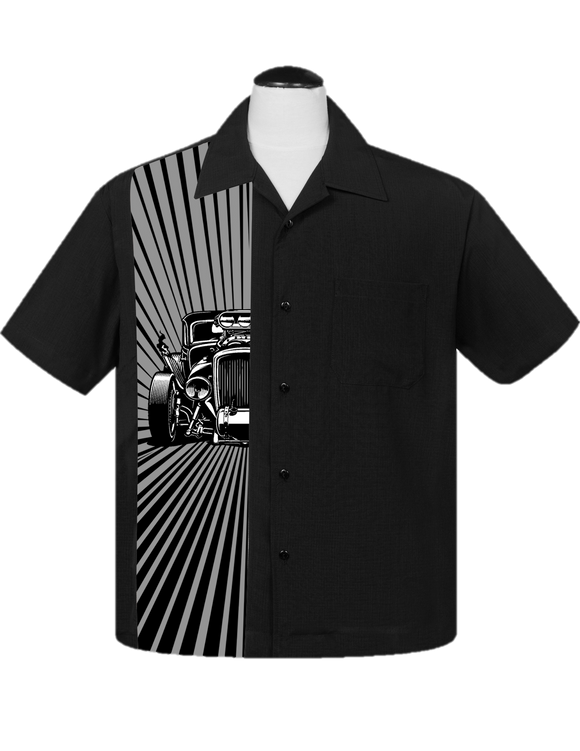 Hot Rod Burst Bowling Shirt in Black