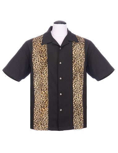 Leopard Panel Bowling Shirt in Black