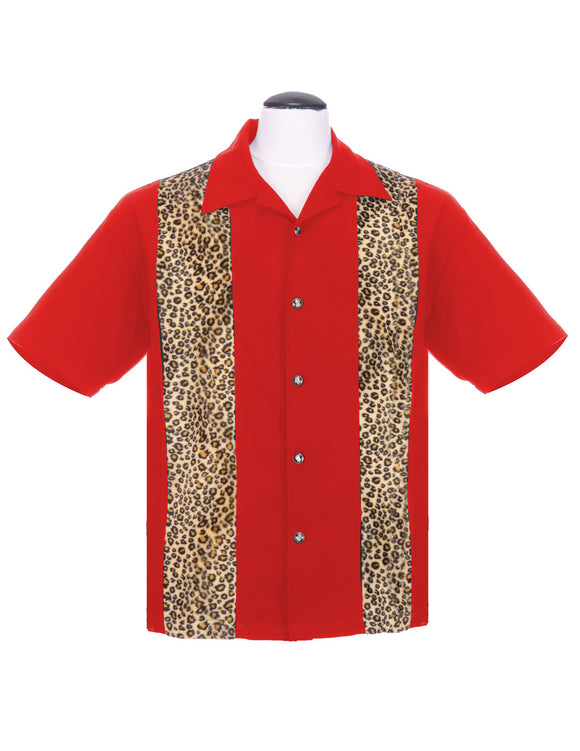 Leopard Panel Bowling Shirt in Red