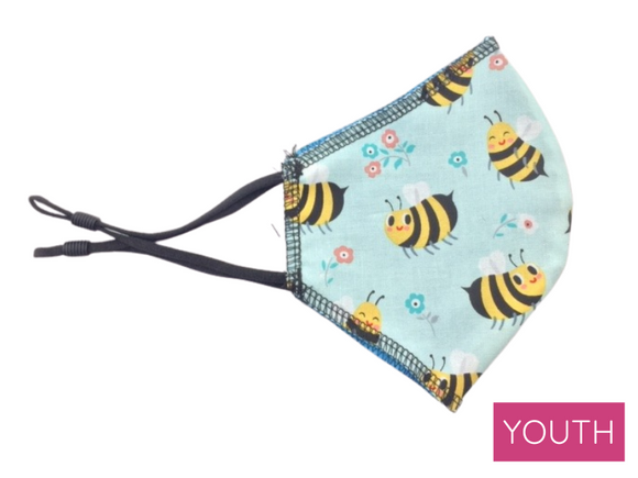 Youth Face Mask, Bumblebee Print