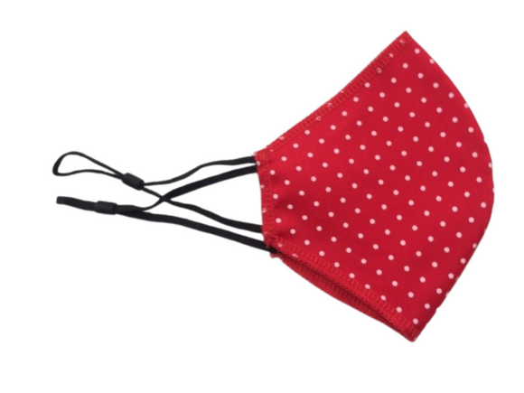 Face Mask, Red Polka Dot