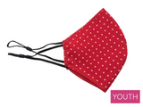 Youth Face Mask, Red Polka Dot
