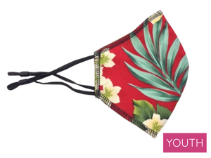 Youth Face Mask, Red Aloha