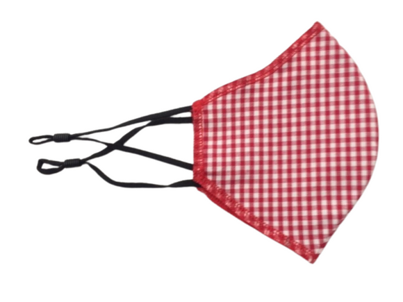 Face Mask, Red Gingham