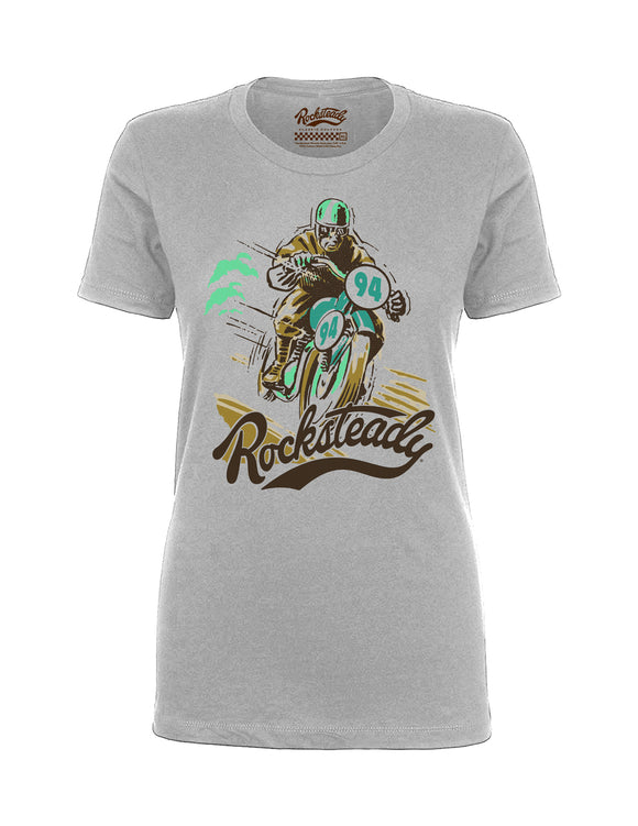 Rocksteady Solo Racer Women's Tee in Silver