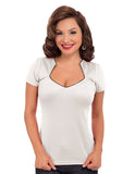 Piped Sophia Top in Ivory