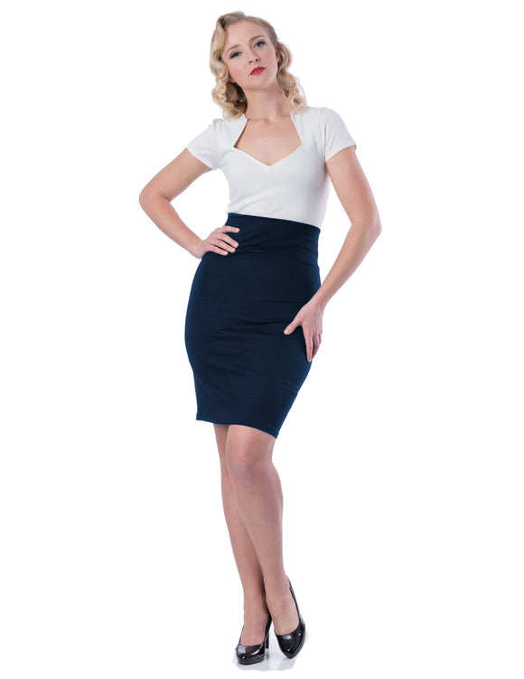 Audrey Pencil Skirt in Navy