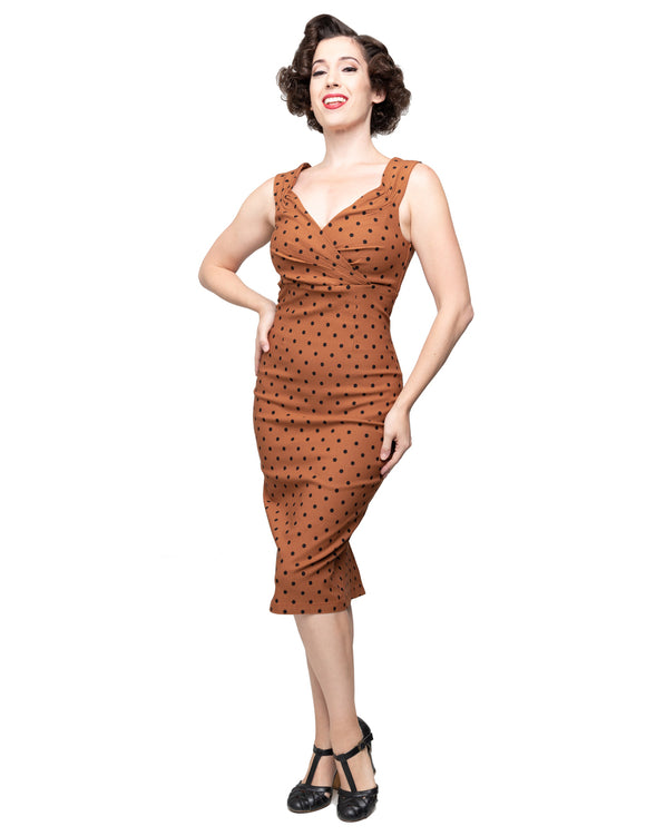 Polka Dot Diva Dress in Rust