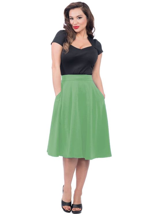 Pocket High Waist Thrills Skirt in Light Green
