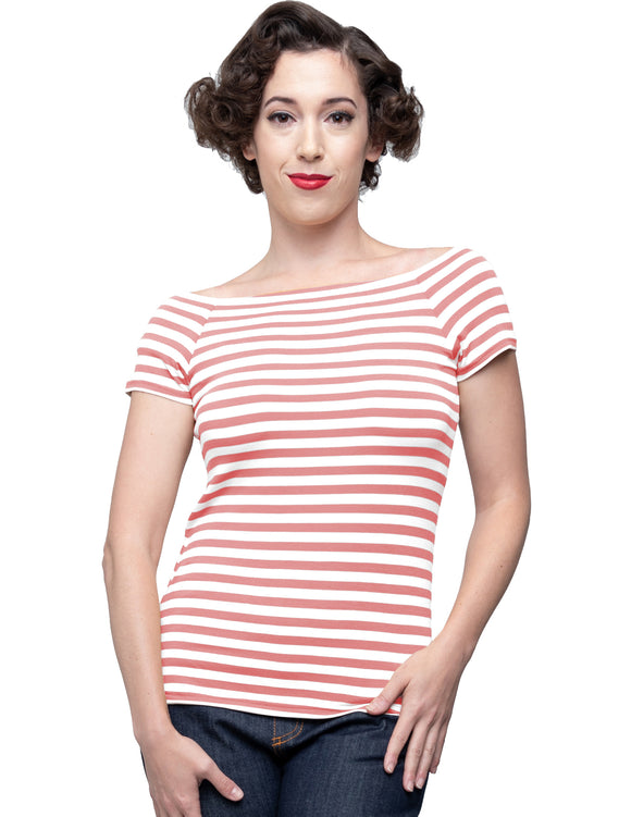 Sandra Dee Striped Top in Pink/Ivory