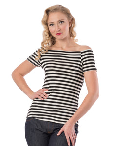 Sandra Dee Striped Top in Black/Ivory
