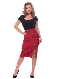 Polka Dot Pencil Skirt in Red