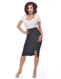 Polka Dot Pencil Skirt in Black