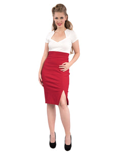 Cora Pencil Skirt in Red