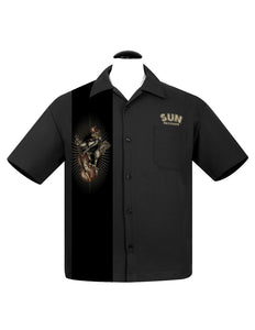 Sun Roosterbilly Panel Bowling Shirt in Black