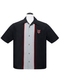 V8 Piped Center Contrast Bowling Shirt in Black