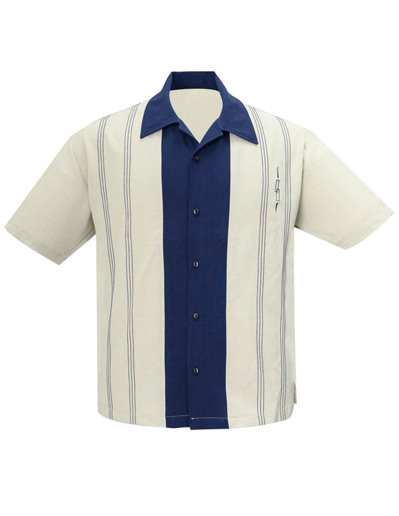 The Harper Bowling Shirt in Stone & Navy