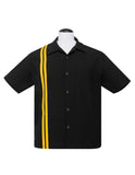 V8 Button Racer Button Up in Black/Gold