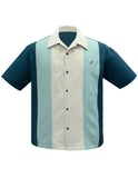 Atomic Mad Men Bowling Shirt in Teal/Mint/Stone