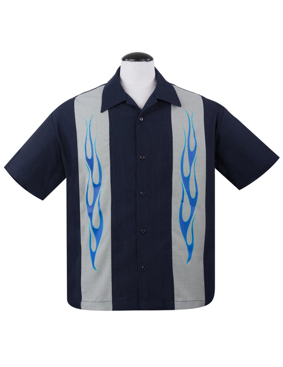 Flame N Hot Bowling Shirt in Navy
