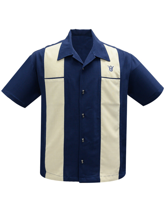 Classy Piston Bowling Shirt in Navy/Stone