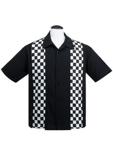 Checkered Mini Panel Bowling Shirt in Black/White