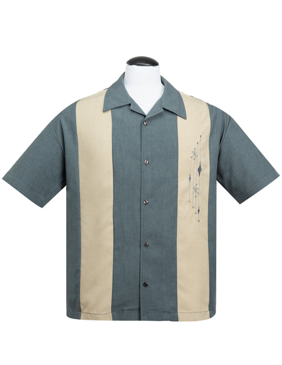 Mid Century Marvel Bowling Shirt in Charcoal