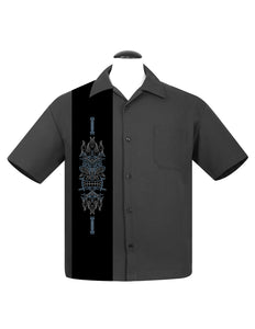 Pinstripe Tiki Panel Bowling Shirt in Charcoal