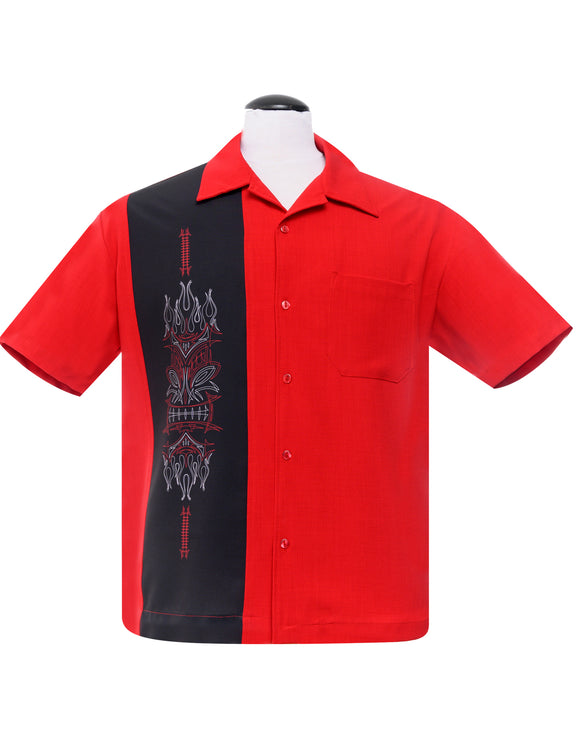 Pinstripe Tiki Panel Bowling Shirt in Red