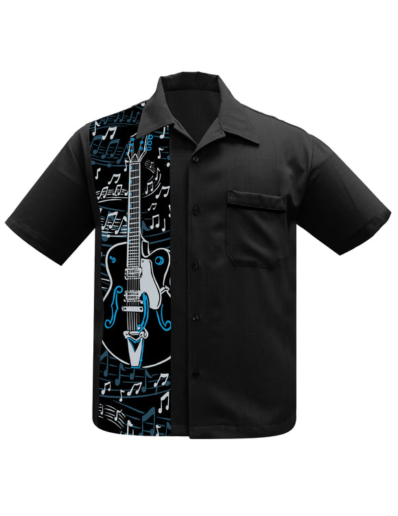 Guitar Panel Bowling Shirt in Black