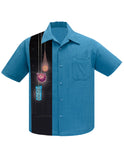 Tiki Lights Panel Bowling Shirt in Pacific