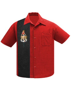 Route 66 Pin-Up Panel Bowling Shirt in Red