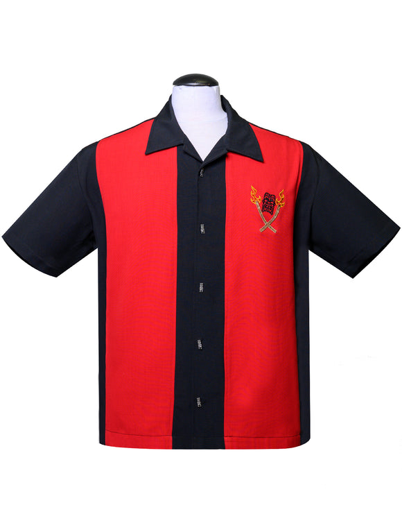 Tropical Itch Bowling Shirt in Black/Red