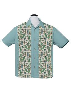 Hula & Cocktails Bowling Shirt in Light Teal