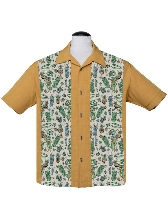 Hula & Cocktails Bowling Shirt in Mustard