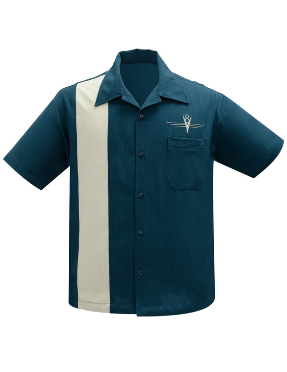 V8 Classic Bowling Shirt in Teal/Stone
