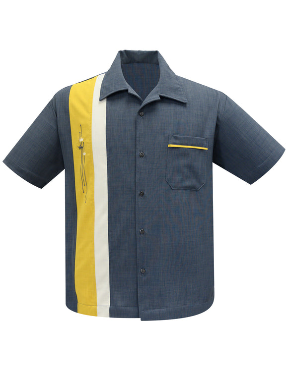 The Arthur Bowling Shirt in Charcoal/Mustard/Stone