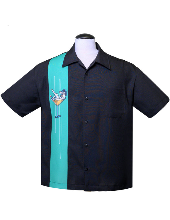 Martini Girl Single Panel Bowling Shirt in Black/Mint