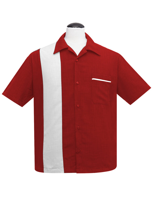 PopCheck Single Panel Bowling Shirt in Red/White