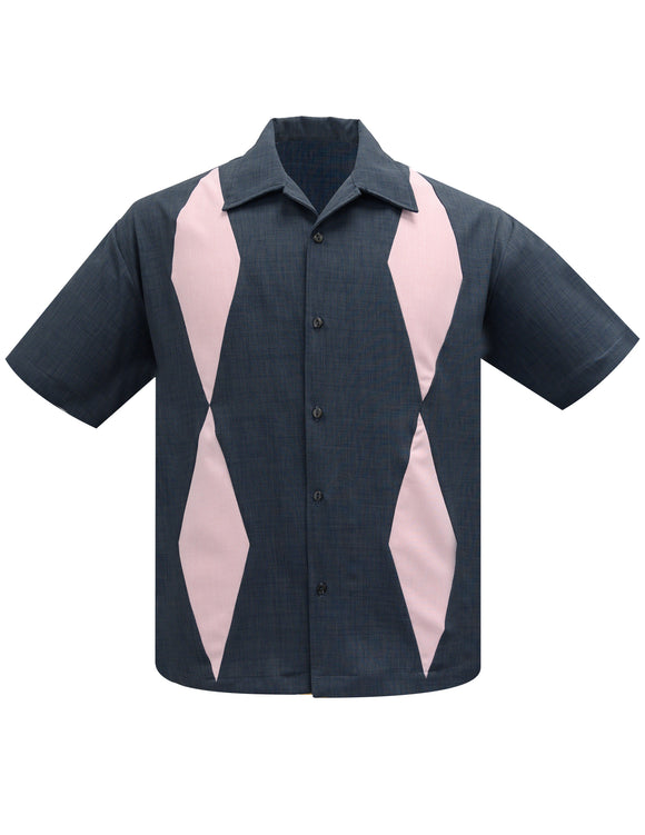 Diamond Duo Bowling Shirt in Charcoal/Pink