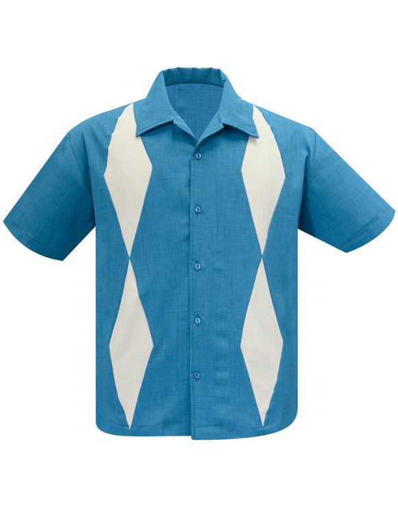 Diamond Duo Bowling Shirt in Pacific/Stone