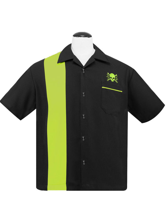 Skull Wrench Panel Shirt in Black/Lime