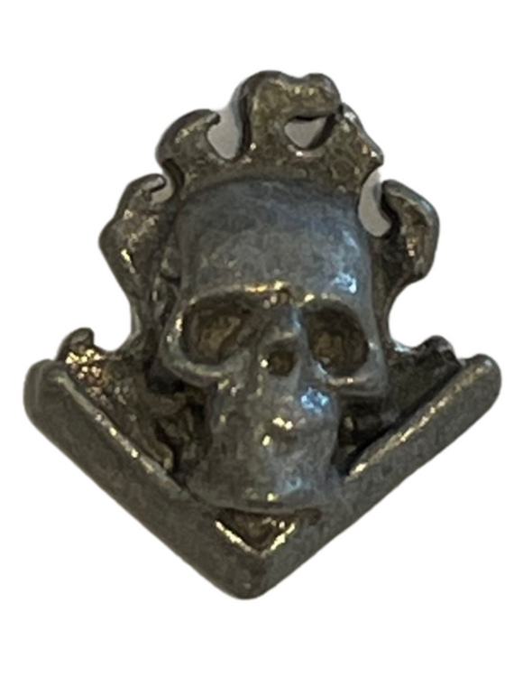 Flaming Skull Metal Buttons