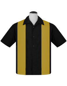 PopCheck Double Panel Bowling Shirt in Black/Mustard