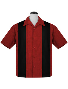 PopCheck Double Panel Bowling Shirt in Red/Black