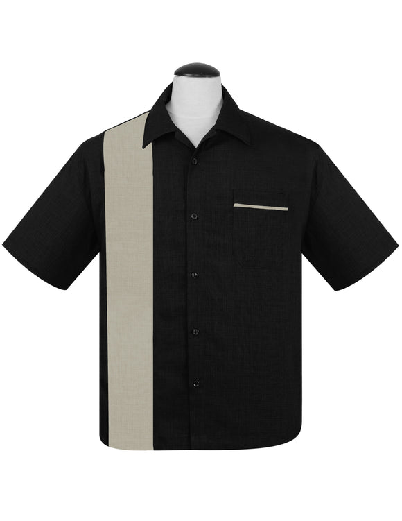 PopCheck Single Panel Bowling Shirt in Black/Sage