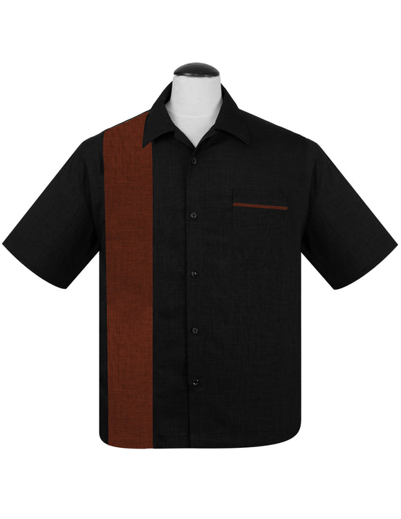 PopCheck Single Panel Bowling Shirt in Black/Rust