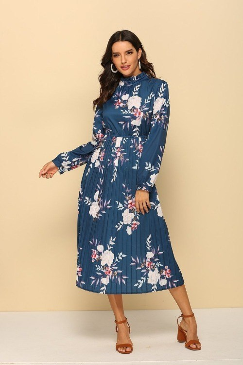 Floral Printed Log Sleeves Pleated Dress